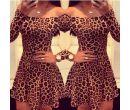 Женское леопардовое платье с длинным рукавом