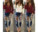 Модные женские джинсовые брюки
