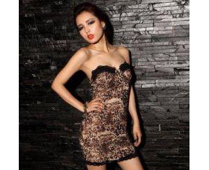Вечерние леопардовое платье с кружевными вставками