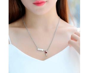 Женское ожерелье с кулоном бокал вина из кубического циркония