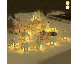 Рождественская светодиодная гирлянда из деревянных домиков