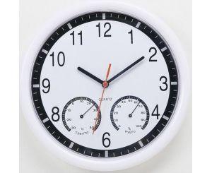 Настенные часы из пластика с термометром-гигрометром для дома