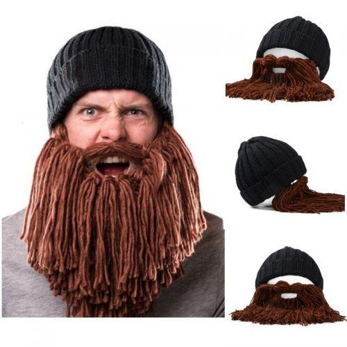 мужская вязаная шапка с бородой
